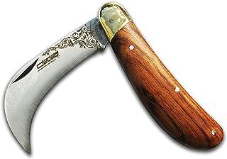 Folding Garden Knife, Grafting Pruning Wood - Professional Pocket Curved Knife Blade - Handmade   High Carbon Walnut Vacci...