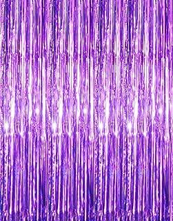 GOER 3.2 ft x 9.8 ft Metallic Tinsel Foil Fringe Curtains for Party Photo Backdrop Wedding Decor (Purple,1 Pack)