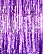 GOER 3.2 ft x 9.8 ft Metallic Tinsel Foil Fringe Curtains for Party Photo Backdrop Wedding Decor (2 Packs,Purple)