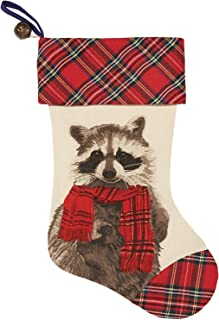 C.R. Gibson Rustic Raccoon Plaid Christmas Stocking with Jingle Bell, 16.5''