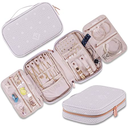 Bracelet Rings Earrings Portable Jewelry Organizer Case for Tangle-Free Jewelry Big Capacity Cotton Jewelry Travel Organizer for Necklace TAICHI INDUSTRIES Travel Jewelry Organizer