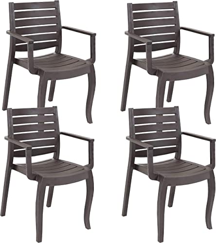 Sunnydaze Illias Plastic Outdoor Patio Arm Chair - Set of 4 - Outdoor Furniture for Porch, Deck, Balcony, Lawn, Backyard, Garden and Sunroom - Stackable Seating - Brown