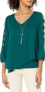 A. Byer Juniors Asymmetrical Sheer Top W/Knit Tee and Necklace