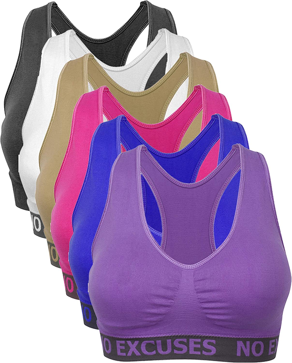 Barbra's Regular & Plus Size Wirefree Racerback Bras with Removable Pads