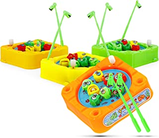 """Srenta 3.5"""" Wind Up Fishing Game, Enjoyable Indoor Game Set for Kids and Toddlers - 4 Assorted Colors"""