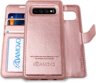 AMOVO Case for Galaxy S10 (6.1'') [2 in 1] Samsung Galaxy S10 Wallet Case Detachable [Vegan Leather] [Wrist Strap] [Kickstand] Samsung S10 Folio Flip Case with Gift Box Package (S10 (6.1'') Rosegold)