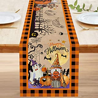 Bonsai Tree Halloween Table Runner 72 Inch, Pumpkins Trick or Treat Burlap Table Runners, Gnomes Spooky Witch Buffalo Plai...