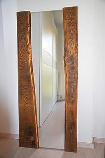 Espejo rústico de madera maciza envejecida, espejo natural diseño moderno para muebles de dormitorio, tienda u oficina vin...