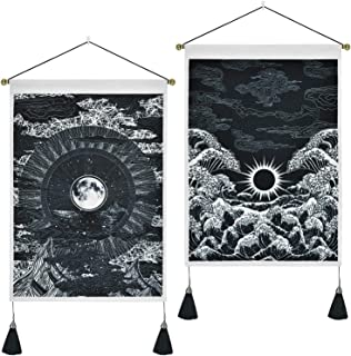 Pack of 2 Tapestry Moon and Star Tapestry Ocean Wave Tapestry Black and White Tapestries Mountain Tapestry Sunset Great Wave Tapestry Wall Hanging for Room (13.8 x 19.7 inches)