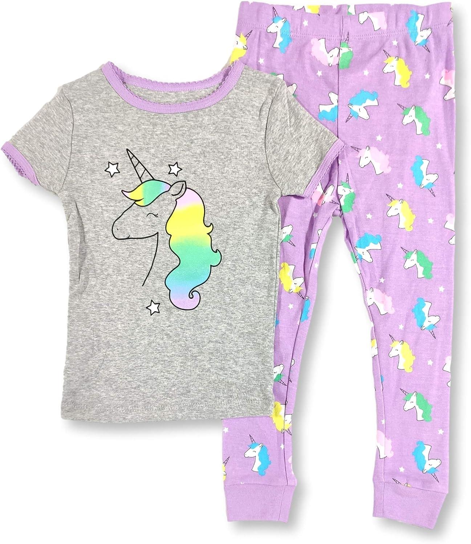 Unicorn Pajamas 2-Piece Short Sleeve Rainbows and Stars PJ Set for Babies and Toddler Girls