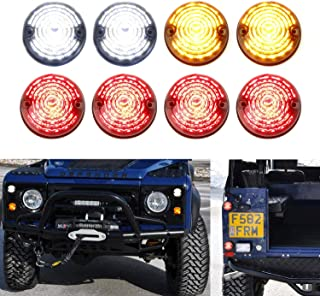 iJDMTOY (8) Clear/Yellow/Red Lens Full LED Upgrade Kit For Land Rover Defender Series 2 3 (Fit Front & Rear Turn Signal, Parking Driving & Brake Tail Light Assembiles)