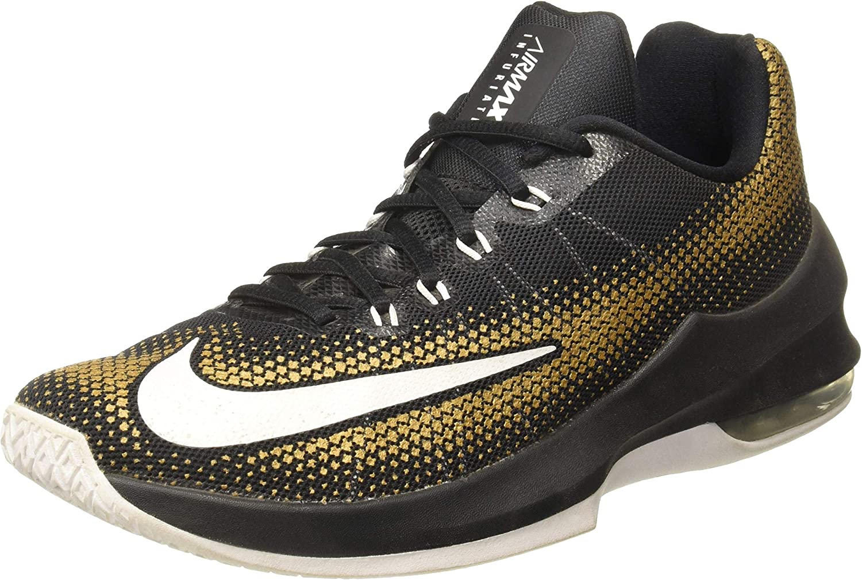Nike Men's Air Max Infuriate Low schwarz Weiß Metallic Gold Basketball schuhe 8 Men US