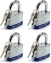 Elitexion Heavy Duty Laminated Steel Padlock, Commercial Grade Keyed Alike 2-Inch (Pack of 4)