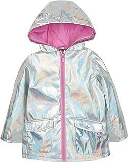 Baby Girls Holographic Silver Jacket Showerproof Rain Coat Mac 9-12 Months to 5-6 Years