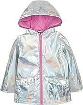 Metzuyan Baby Girls Iridescent Shiny Rain Coat Hood
