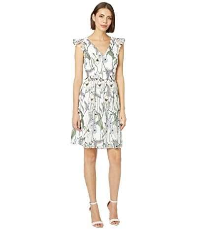 Adrianna Papell Pastel Paradise Embroidered Fit and Flare Dress (Ivory Multi) Women