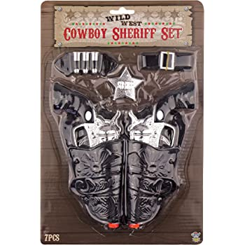 Vendeur Britannique Enfants Cowboy Role Play Dress Up Set Pack de 5 avec pistolet 18 cm