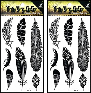 Tattoos 2 Sheets Black Feather Fancy Temporary Tattoos Stickers Fake Body Arm Chest Shoulder Tattoos for Teens Men Women