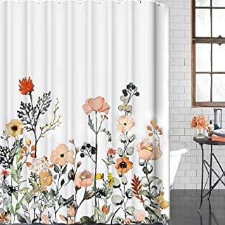 VWMYQ Fabric Floral Shower Curtain Set with 12 Hooks,Multi-Color Flowers and Leaves Decorative Bath Curtain Modern Bathroo...