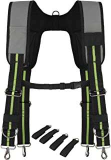 Padded Tool Belt Suspenders w/Chest Strap, Pencil Sleeve, Molle Clip | Durable 1000D..