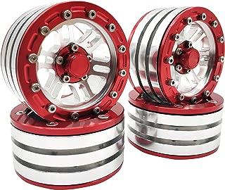 4PCS Metal 1.9 Beadlock Wheels Rims for 1/10 RC Crawler Axial SCX10 D90 TRX-4 Jeep 90046 90047(Red)