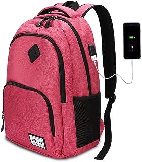 AUGUR Sac à Dos Ordinateur Femme Fille Sac à Dos Scolaire avec Chargeur USB 35L