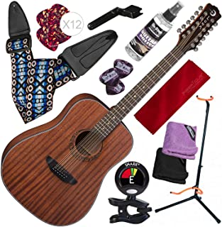 Luna Gypsy Dreadnought 12-String Mahogany Acoustic Guitar with Professional Stand and Deluxe Bundle