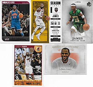 Lebron James 5 Card Gift Lot Including 2017 Contenders, 2014 Hoops, 2012 SP and 2 Other Lebron Cards, Nice Mix Picturing Him in His White and Blue Cavs and Green High School Jerseys