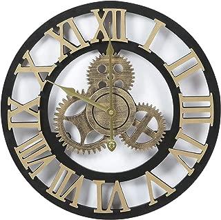 Adeco 3D Retro Rustic Vintage Gear Noiseless, Wooden Decoration Wall Clocks, 19 Inch, Roman-Gold