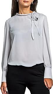 Everyday Womens Princess Cuff Long Sleeve Chiffon Blouse, Narrow Tie Neck, Wear to Work