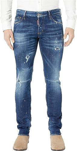 Dark Pink Spray Wash Slim Jeans in Blue
