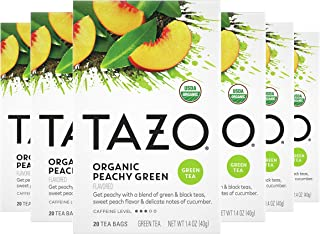 Tazo Organic Peachy Green Tea Bags For a Refreshing Cup of Tea Green Tea Moderate Caffeinated Tea 20 ct, Pack of 6