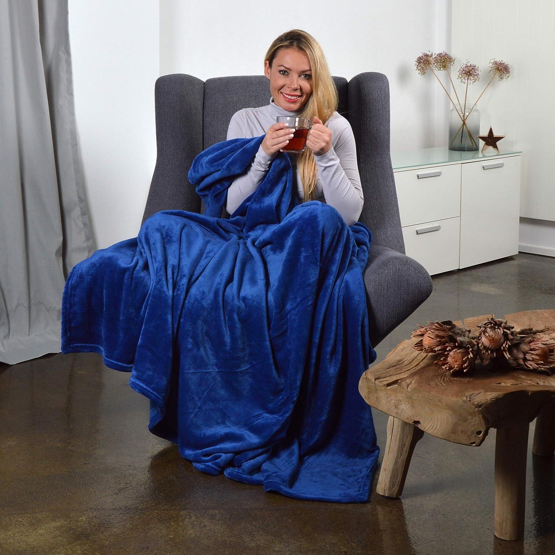 Maille Micropolaire Flanelle 280g//m/² Couleur: Capuccino Couverture Douillette Moelleuse XL avec Une Touche de Cachemire 220 x 240 cm Pink Papaya SnugMe Supersoft