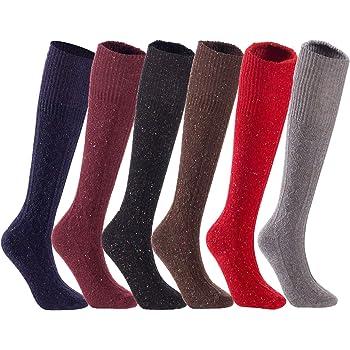 Lian LifeStyle Womens 4 Pairs Knee High Non-Slip Wool Socks LWFS05 Size 6-9