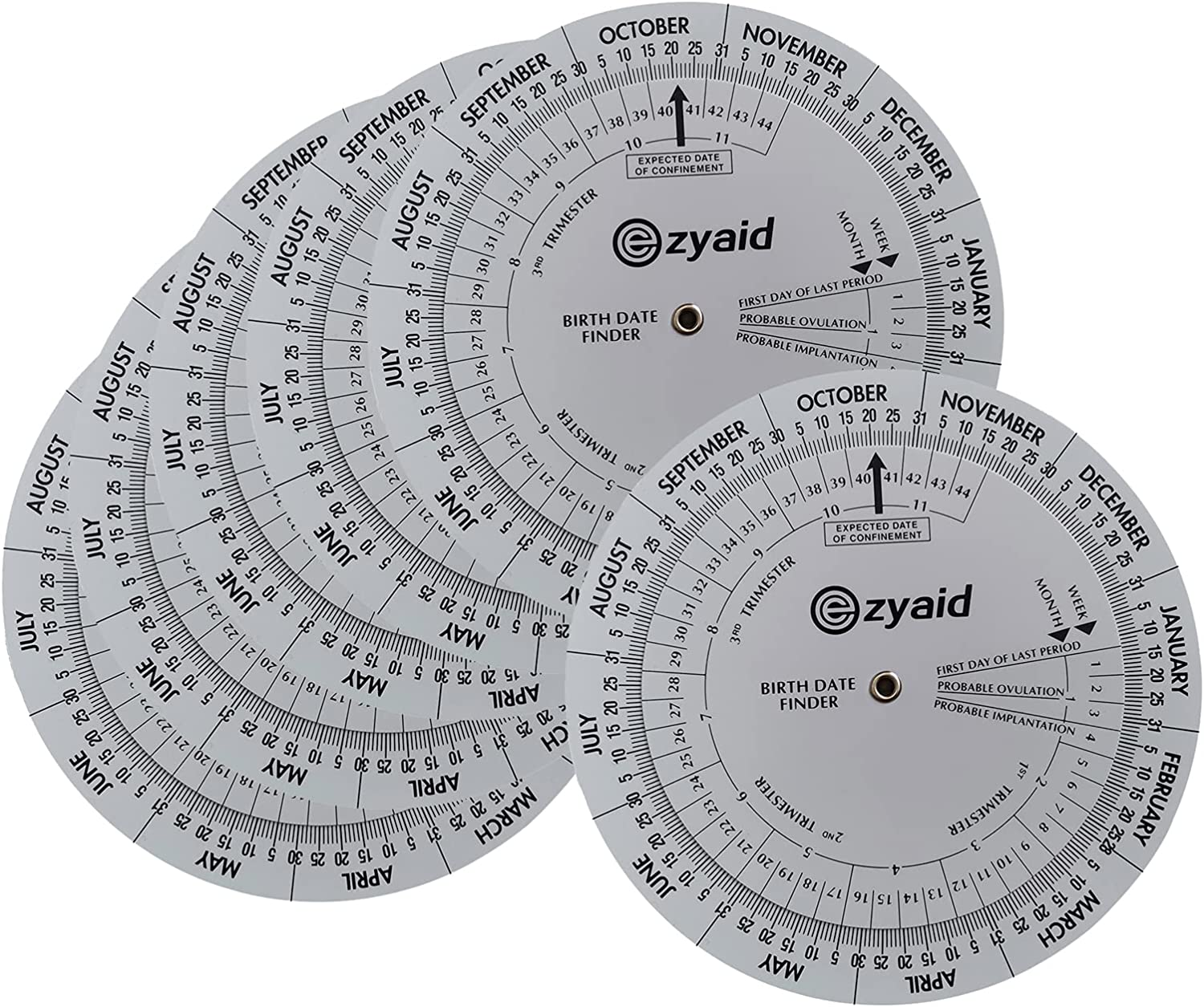 Ezyaid Pregnancy Wheel (6 Packs), Pregnant Due Date Calculator for OB-GYN, Gestation Wheel Calculator for Midwives, Nurses, Patients, and Health Care Providers