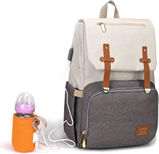 BabyMemory Diaper Bag Multi-Functional Mommy Backpack Waterproof Maternity Travel Nappy Bags with USB Charging Port for Baby Care, Fashion, Durable and Stylish (SY076-Gray&White)