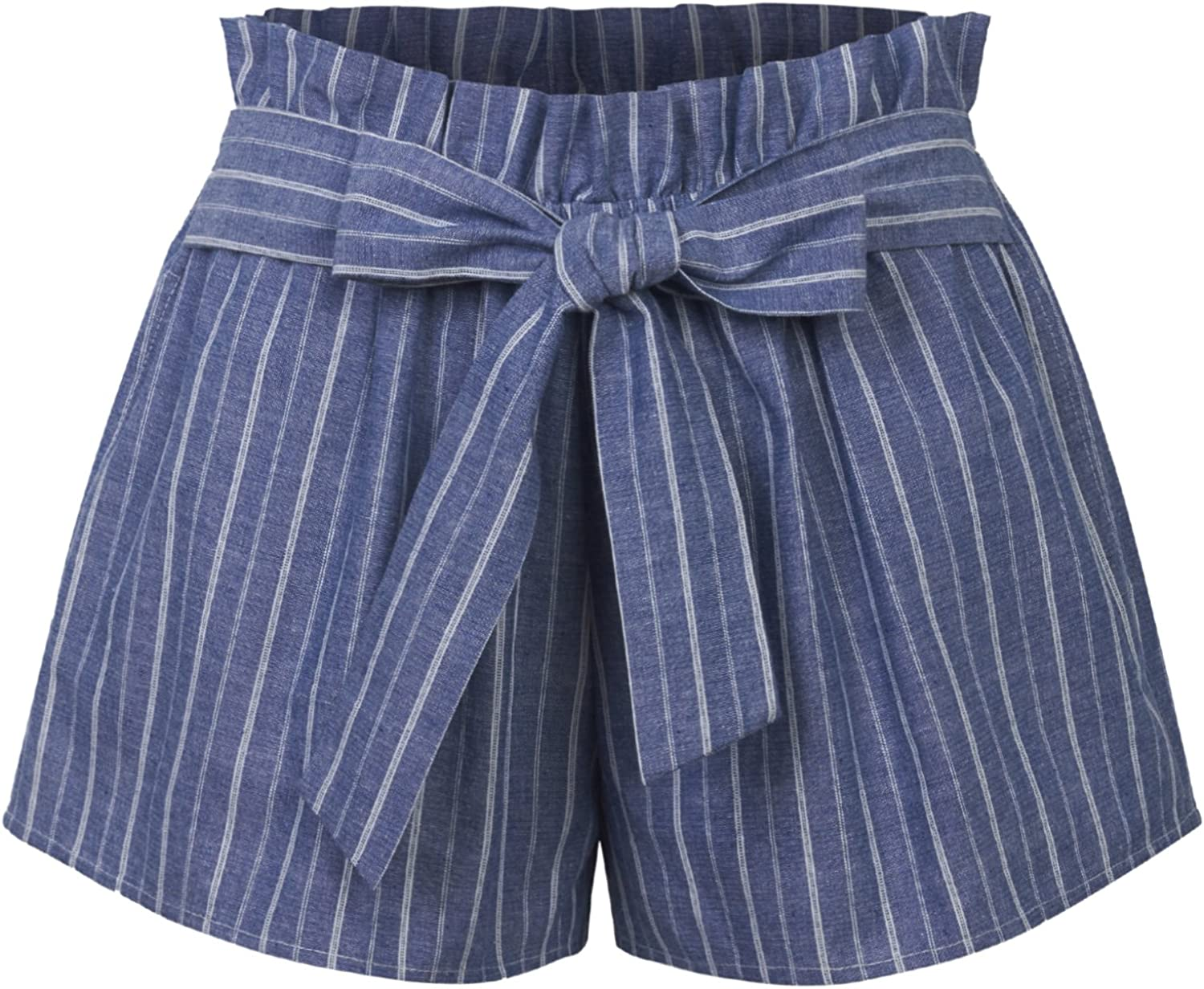 KOGMO Womens Casual Striped Summer Beach Shorts with Self Tie Bow