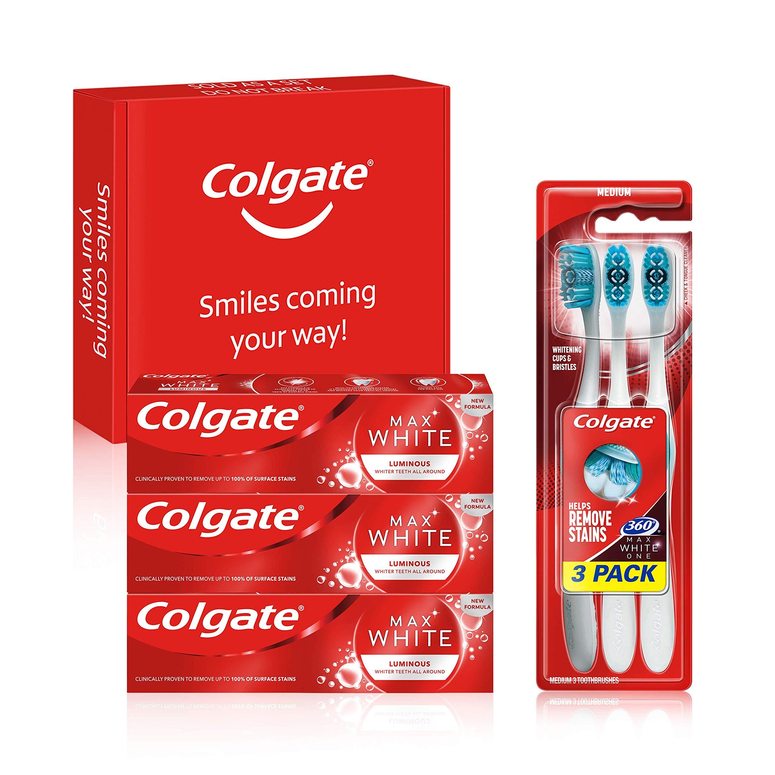 Colgate Max White Luminous Teeth Whitening Toothpaste & Toothbrush Bundle Kit, 3x75ml Toothpaste Multipack & 3 Pack Toothbrush