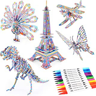 BEARUN 3D Coloring Puzzle Set, Arts and Crafts for Girls and Boys Age 6 7 8 9 10 11 12 Year Old, Fun Educational Painting ...