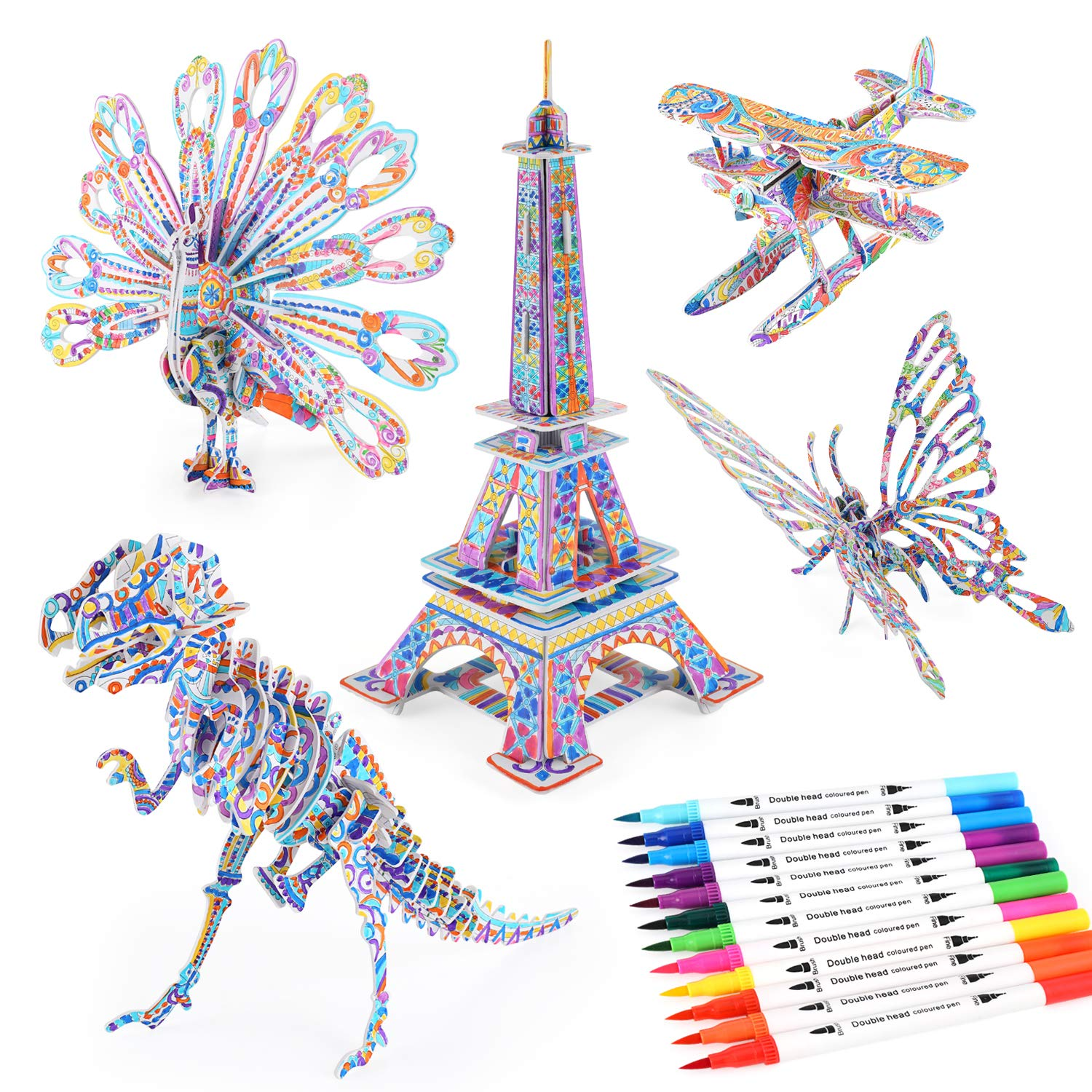 BEARUN 3D Coloring Puzzle Set, Arts and Crafts for Girls and Boys Age 6 7 8 9 10 11 12 Years Old, Fun Educational Painting Crafts Kit with Supplies for Kids, Birthday Toy Gift for Kids (5-Pack)