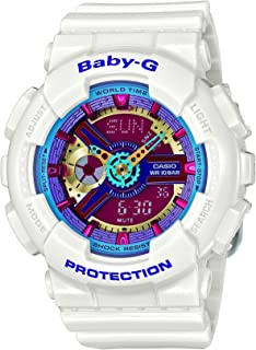 Women's Baby G Quartz 100M WR Shock Resistant Resin Color: White with Multi Color Face (Model BA-112-7ACR)