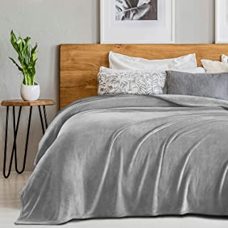 Sedona House Fleece 280GSM Luxury Microfiber Flannel Super Soft Warm Fuzzy Cozy Lightweight Blanket for Bed Couch or Car Color Grey Size Throw 50