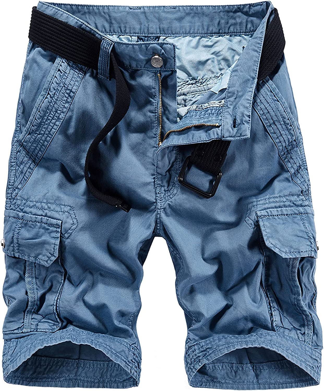 Men Summer Casual Loose Camouflage Cargo Shorts Multi-Pocket 100% Cotton Street Military Knee-Length Beach-Sky Blue-32