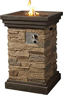 Peaktop HF29402A Square Column Propane Gas Fire Pit Outdoor Garden Slate Rock, 20 Inches, Brown