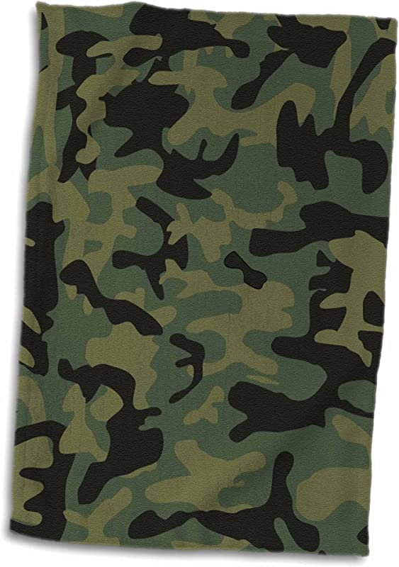 3D Rose Dark Green Camo Print Hunting Hunter Or Army Soldier Uniform Style Camouflage Woodland Pattern Towel 15 X 22 Multicolor
