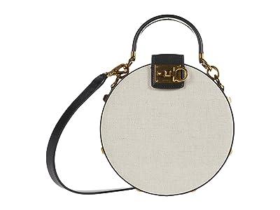 Salvatore Ferragamo The Studio Kuban Round Crossbody (Naturale/Nero) Handbags