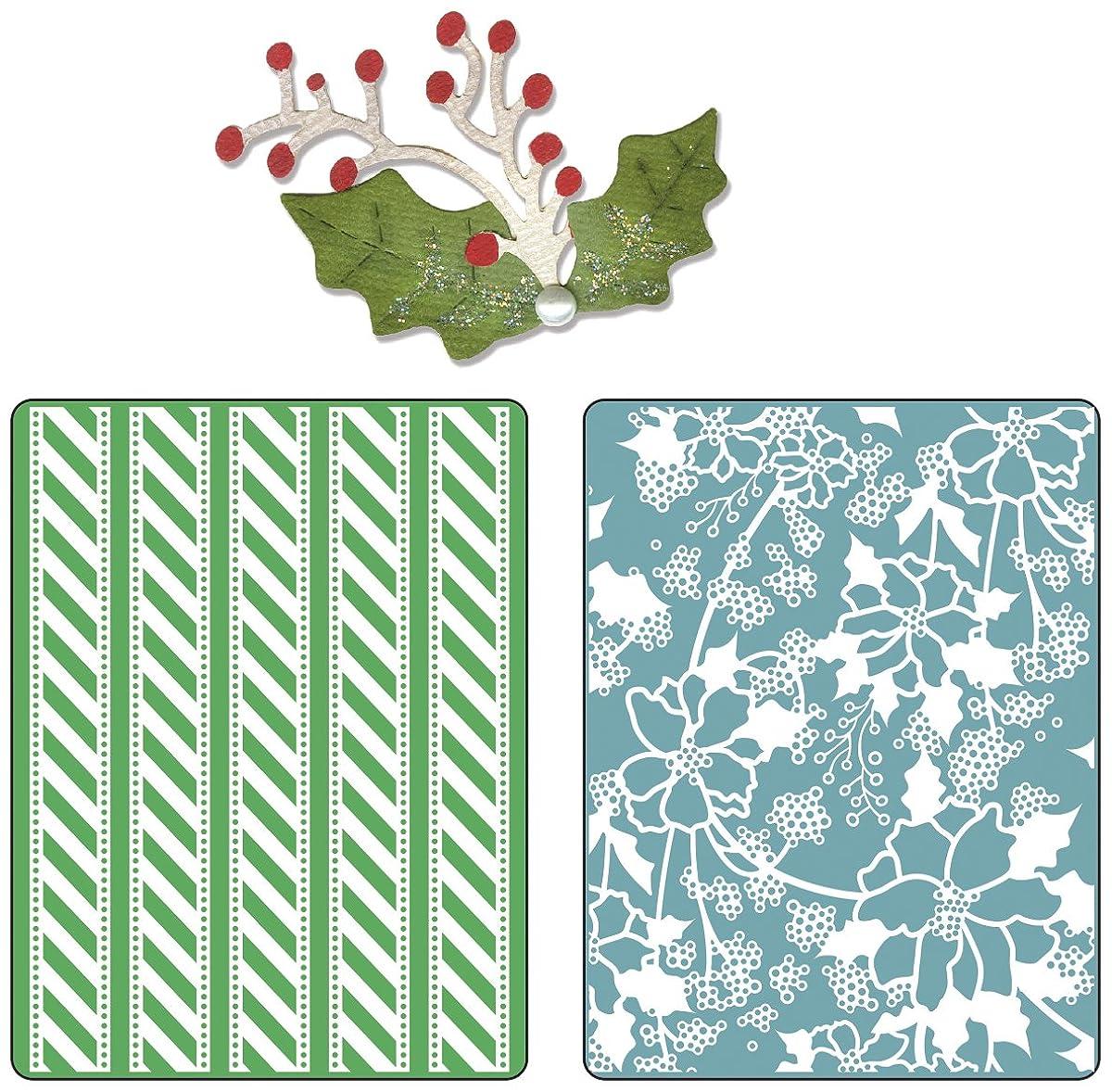 Sizzix Textured Impressions Embossing Folders with Bonus Sizzlits Die - Alpine Pattern & Flowers Set by BasicGrey