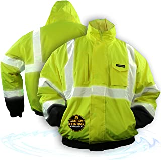 KwikSafety (Charlotte, NC) GUARD   Class 3 Black Cuff Safety Bomber Jacket   High Visibility ANSI OSHA PPE   Foldable Hood Reflective Winter Water Resistant Construction Workwear Men   Large