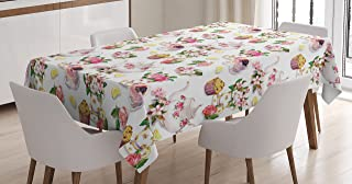 Ambesonne Shabby Flora Tablecloth, Roses Shabby Form Design Vintage Teapots Flowers Leaves Cakes Lemon Art Print, Rectangular Table Cover for Dining Room Kitchen Decor, 60