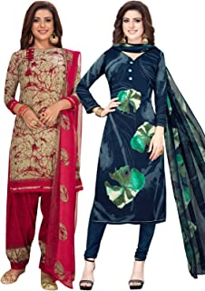 S Salwar Studio Women's Pack of 2 Synthetic Printed Unstitched Dress Material Combo-MONSOON-2851-2891